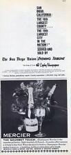 1960 San Diego Union PRINT AD & Mercier Champagne PRINT AD