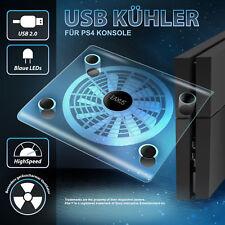 Playstation 4 USB Kühler Lüfter PS4 Ständer blaue LED Beleuchtung für PS4 Neu