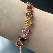 Wedding Multi-color Cubic Zirconia Gemstone Tennis Adjustable Bracelet Xmas Gift