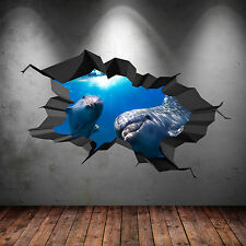 FULL COLOUR 3D AQUARIUM DOLPHIN UNDER WATER CRACKED 3D WALL ART STICKER DECAL 10