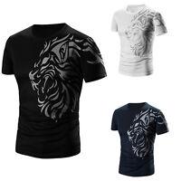 Men's Crew Short Sleeve T-Shirt Summer Cotton Fashion Casual Blouse Shirt Tops