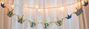 happy birthday prince/king/crown navy blue & gold custom name banner