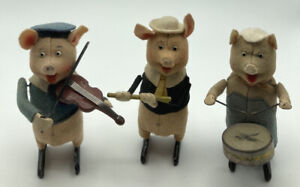 1930s Clockwork Three Little Pigs Set By Schuco Germany