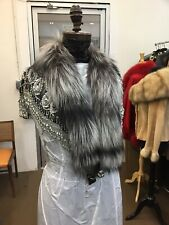 SILVER FOX FRINGED HAND BEADED CHIFFON CAPE CAPELET STOLE WRAP NEW ONE SIZE