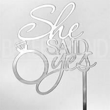 She Said Yes Silver Acrylic Engagement Ring Wedding Day Cake Topper Silhouette