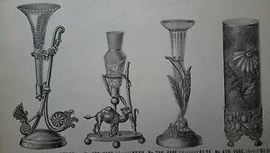 Antique 1886 Vase Quadruple Silver Plate Figural decorated porcelain ad page