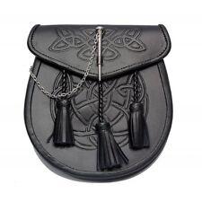 Embossed leather Semi Dress Pin lock Sporran by Scottish Kilt | Made To Measure