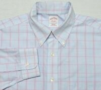 Brooks Brothers NON IRON Long Sleeve Dress Shirt Blue Pink Plaid 15.5 32