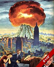 COLD WAR ERA US PROPAGANDA ATOMIC BOMB EXPLOSION IN CITY POSTER ON REAL CANVAS