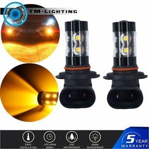2X 50W 9006 HB4 High Power LED Fog Lights Bulbs 3000K Amber Orange
