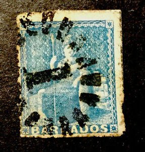 "Barbados ""Britannia"" 1856/57 Used 1d stamp Hinged"