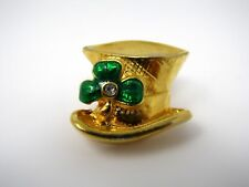 Vintage Collectible Pin: Top Hat Shamrock St. Patrick's Gift