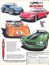1971 Koni Shocks Dune Buggy Porsche Camaro Z28 Le Mans Print Ad.
