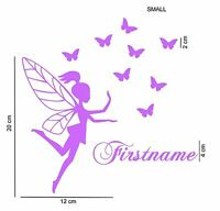 Fairy butterflies personalised vinyl wall sticker set custom name girl bedroom