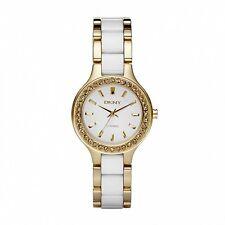 NEW DKNY NY8140 LADIES WHITE AND GOLD CERAMIC WATCH - 2 YEAR WARRANTY