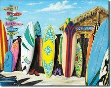 "Surf Shack Beach Surfer Surfing Longboard Surfboard Fin Metal 12.5"" X 16"" Sign"