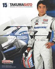 """2012 INDY 500 TAKUMA SATO JAPAN RLL RACING PANASONIC INDYCAR 8""""X10"""" HERO CARD !"""