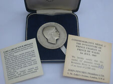 Large, Attractive Cased Sterling Silver Medallion of the Investiture of the HRH