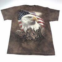 The Mountain Eagle America Tie Dye Brown T Shirt Mens M Medium #1190 Made In USA
