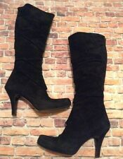 Miss Sixty Black Suede Leather Knee High High Heel Boots Size 37 U.S. 7 Italy
