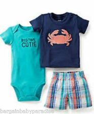 NWT Carter's 3 Pc Crab Bodysuit T-Shirt & Plaid Shorts Set Baby Infant 3 M $24