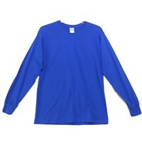 Gildan Heavy Cotton NWT Blank Tee T Shirt Mens M Medium Blue Long Sleeve NEW