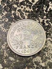 1943 France 2 Francs Lot#Z531 Km#904.1 High Grade! Beautiful!