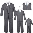 6pc Baby Toddler Boy Dark Gray Formal Wedding Party Tuxedo Suit Fashion Tie S-20