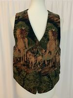 First Issue Womens Textured Vest Sz M Hunting Dog Horseback Horse Pattern