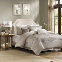BEAUTIFUL MODERN CHIC TAUPE BEIGE TAN IVORY TEXTURE PINTUCK STRIPE COMFORTER SET