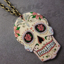 Mini Sugar Skull Day of the Dead Tattoo Necklace Kitsch Rockabilly Psychobilly 1