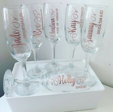 Personalised Wedding Bridesmaid Champagne Flutes Glass Gift / Hen Party