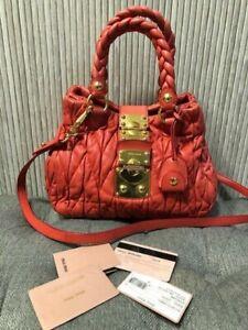 Authentic MIU MIU Matelasse Bauletto Aperto Quilted Bag Tote Crossbody Bag
