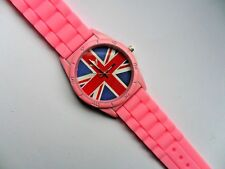 Union Jack Flag Patterned Quartz Watch Pink Silicon Strap  Great for Holidays