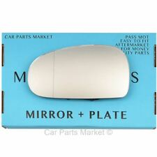 For Audi TT 99-06 Left passenger side Aspheric wing door mirror glass with plate