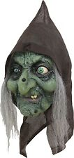 Halloween OLD SWAMP HAG WITCH Adult Latex Mask WITH HAIR Costume NEW