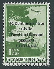 1941 LUBIANA POSTA AEREA 1 D SASSONE N. 2 MNH ** - M61-4