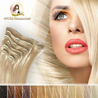 """20"""" 100% Indian Remy Dip Dye Clip in Hair Extensions Natual Black blonde 100g"""