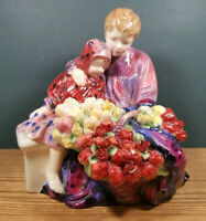 """Vintage Royal Doulton Figurine """" The Flower Seller's Children """" HN1342 Siblings"""