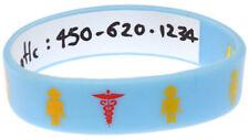 Write On Robot Light Blue Kid's Silicone Wristband Medical Alert ID Bracelet
