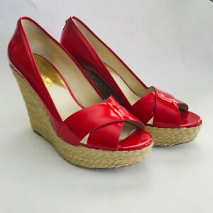 Michael Kors Red Wedge Heels, Sandals Size 9M, Red Patent Leather Worn Once