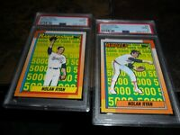 2 LOT 1990 OPC by Topps #3 & #5 Nolan Ryan HOF 5000 K (Error Labels) PSA 9 MINT