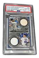 KRIS BRYANT ANTHONY RIZZO TOPPS MUSEUM COLL DUAL MEANINGFUL MAT RELIC #BR PSA 10