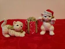 Fitz and Floyd Kitty Kringle Tumbling Cats Figurines c2005