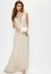 Missguided Strappy Front Embellished Maxi Nude Uk 10