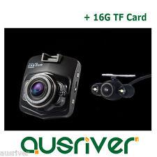 "1080P Dual Car Camera Dash Video DVR Recorder Night Vision 2.5"" LCD+16G TF Card"
