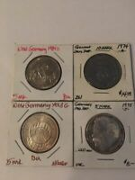 German coins (3) 5M 1973 G, 1975 J & 1984 D + (1) 10M 1974 A - some w/ Silver