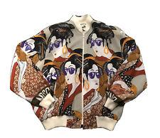vintage moschino jacket All Over Women Print 80s Zipper Bomber VTG Franco Italy