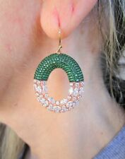 CHROME DIOPSIDE & 9.72 ctw MARQUISE WHITE TOPAZ EARRINGS 925 Silver w/Rose Gold