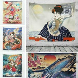 3D Sunset Tapestry Japanese Wall Hanging Art Geisha Tapestries Home Decor Retro